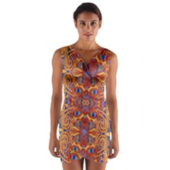 Oriental Watercolor Ornaments Kaleidoscope Mosaic Wrap Front Bodycon Dress