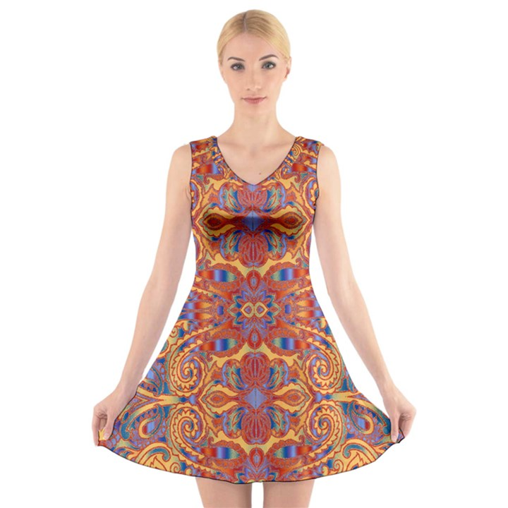 Oriental Watercolor Ornaments Kaleidoscope Mosaic V-Neck Sleeveless Skater Dress