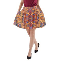 Oriental Watercolor Ornaments Kaleidoscope Mosaic A-Line Pocket Skirt