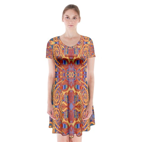 Oriental Watercolor Ornaments Kaleidoscope Mosaic Short Sleeve V-neck Flare Dress