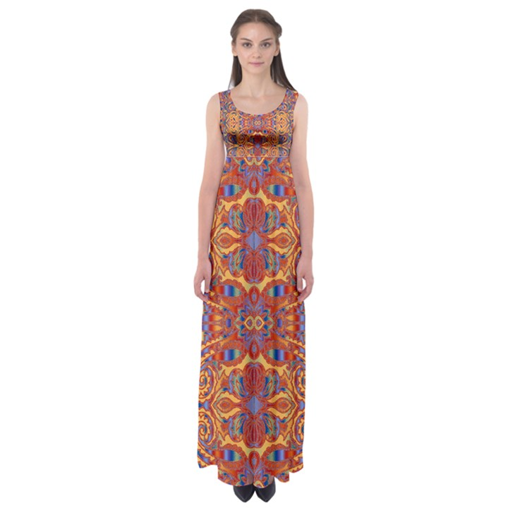 Oriental Watercolor Ornaments Kaleidoscope Mosaic Empire Waist Maxi Dress