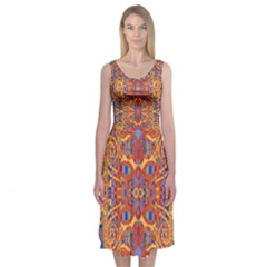 Oriental Watercolor Ornaments Kaleidoscope Mosaic Midi Sleeveless Dress