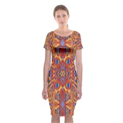Oriental Watercolor Ornaments Kaleidoscope Mosaic Classic Short Sleeve Midi Dress