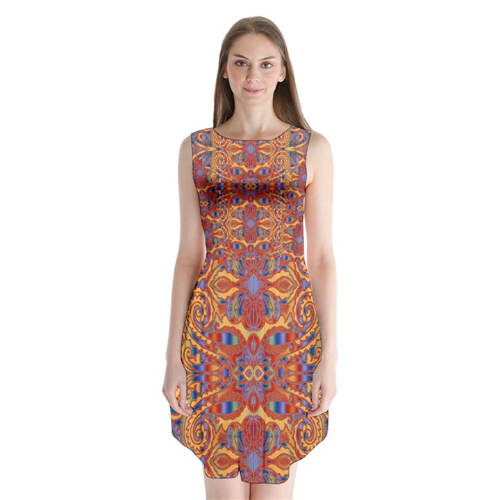 Oriental Watercolor Ornaments Kaleidoscope Mosaic Sleeveless Chiffon Dress