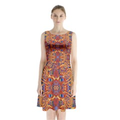 Oriental Watercolor Ornaments Kaleidoscope Mosaic Sleeveless Chiffon Waist Tie Dress
