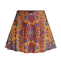 Oriental Watercolor Ornaments Kaleidoscope Mosaic Mini Flare Skirt