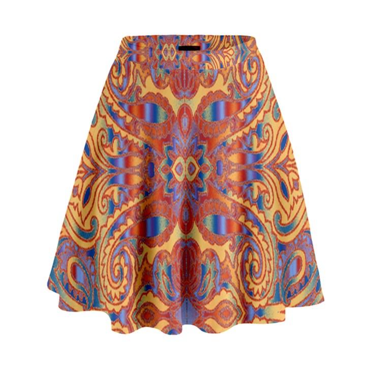 Oriental Watercolor Ornaments Kaleidoscope Mosaic High Waist Skirt