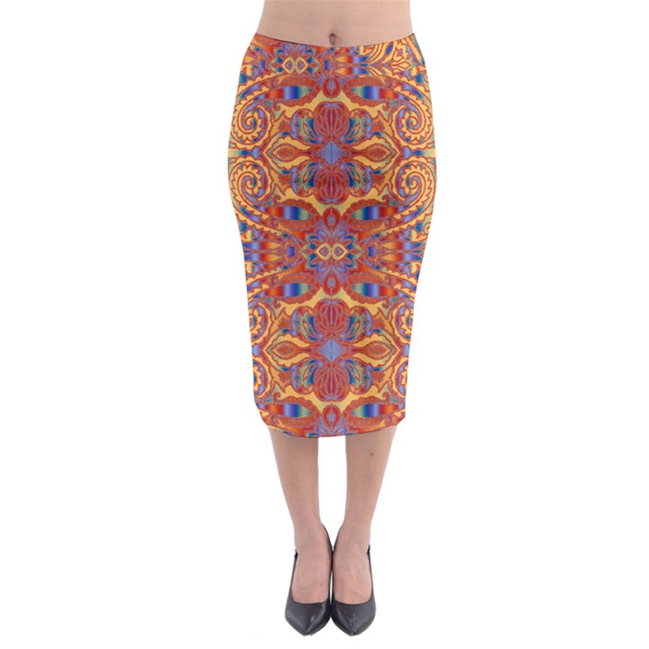 Oriental Watercolor Ornaments Kaleidoscope Mosaic Midi Pencil Skirt
