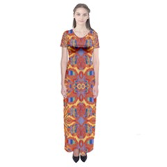 Oriental Watercolor Ornaments Kaleidoscope Mosaic Short Sleeve Maxi Dress