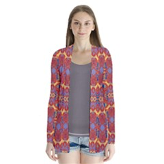 Oriental Watercolor Ornaments Kaleidoscope Mosaic Drape Collar Cardigan