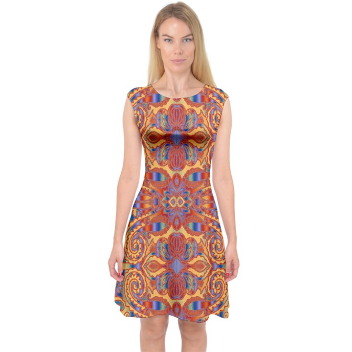 Oriental Watercolor Ornaments Kaleidoscope Mosaic Capsleeve Midi Dress