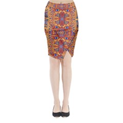 Oriental Watercolor Ornaments Kaleidoscope Mosaic Midi Wrap Pencil Skirt