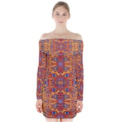 Oriental Watercolor Ornaments Kaleidoscope Mosaic Long Sleeve Off Shoulder Dress