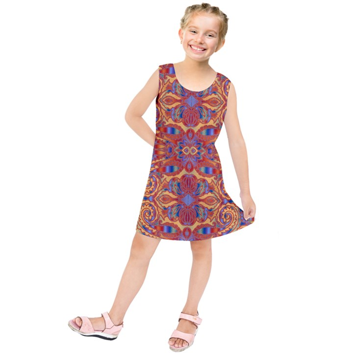 Oriental Watercolor Ornaments Kaleidoscope Mosaic Kids  Tunic Dress