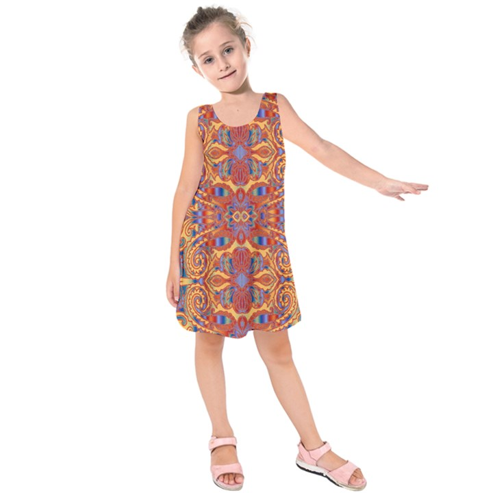 Oriental Watercolor Ornaments Kaleidoscope Mosaic Kids  Sleeveless Dress