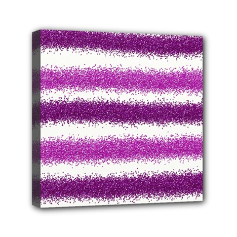 Metallic Pink Glitter Stripes Mini Canvas 6  x 6