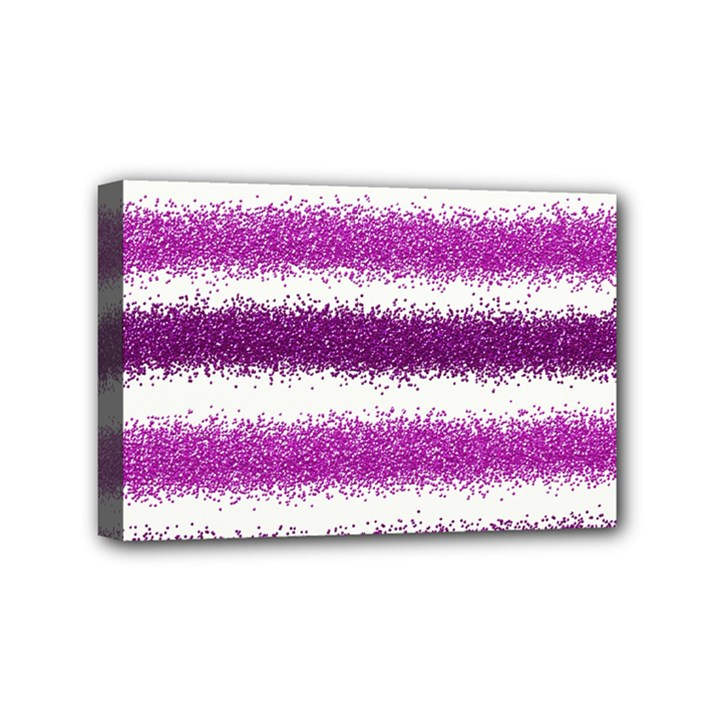 Metallic Pink Glitter Stripes Mini Canvas 6  x 4