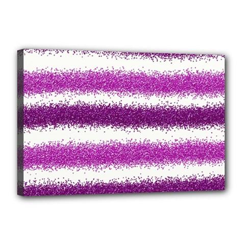 Metallic Pink Glitter Stripes Canvas 18  x 12