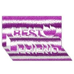 Metallic Pink Glitter Stripes Best Friends 3D Greeting Card (8x4)