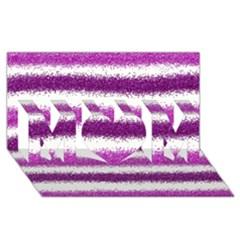Metallic Pink Glitter Stripes MOM 3D Greeting Card (8x4)