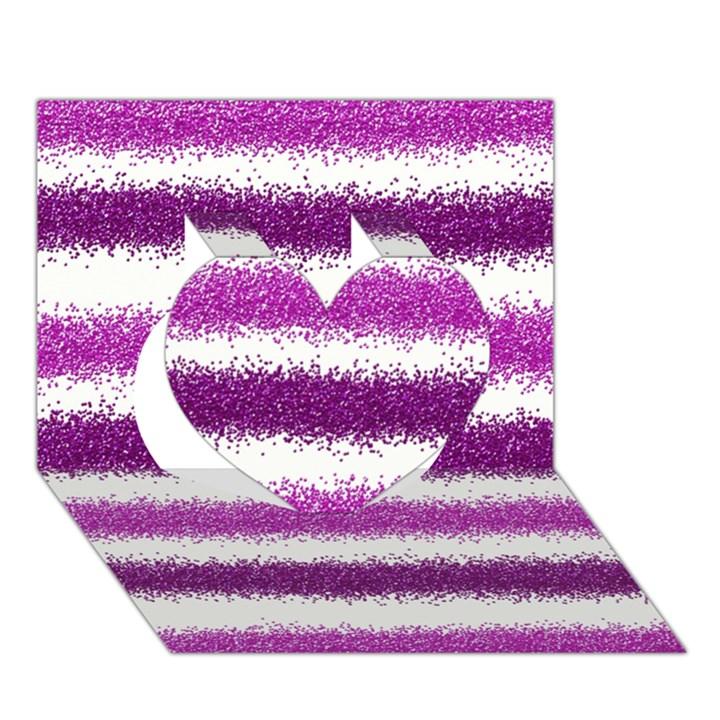 Metallic Pink Glitter Stripes Heart 3D Greeting Card (7x5)