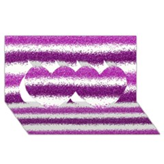 Metallic Pink Glitter Stripes Twin Hearts 3D Greeting Card (8x4)