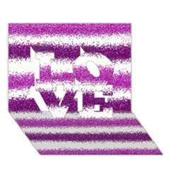 Metallic Pink Glitter Stripes LOVE 3D Greeting Card (7x5)