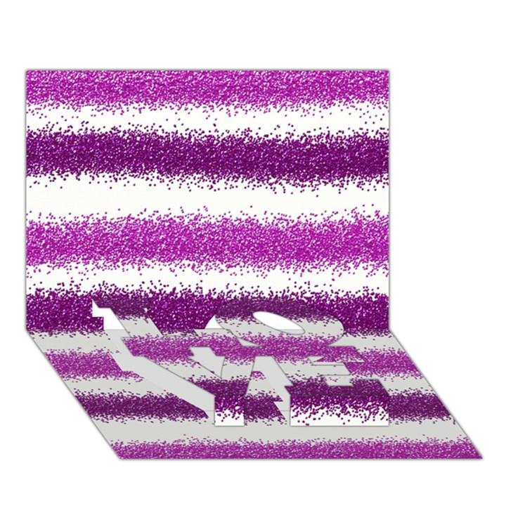 Metallic Pink Glitter Stripes LOVE Bottom 3D Greeting Card (7x5)