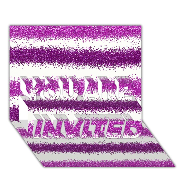 Metallic Pink Glitter Stripes YOU ARE INVITED 3D Greeting Card (7x5)