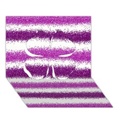 Metallic Pink Glitter Stripes Clover 3D Greeting Card (7x5)