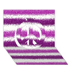 Metallic Pink Glitter Stripes Peace Sign 3D Greeting Card (7x5)
