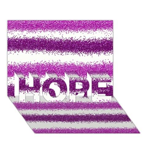 Metallic Pink Glitter Stripes HOPE 3D Greeting Card (7x5)
