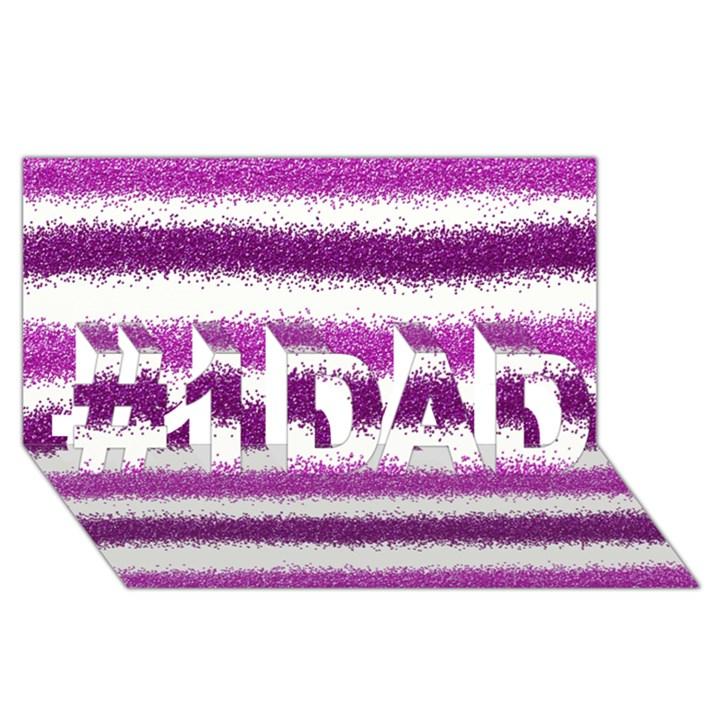 Metallic Pink Glitter Stripes #1 DAD 3D Greeting Card (8x4)