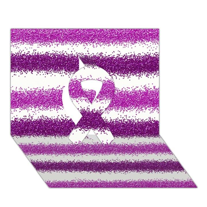 Metallic Pink Glitter Stripes Ribbon 3D Greeting Card (7x5)