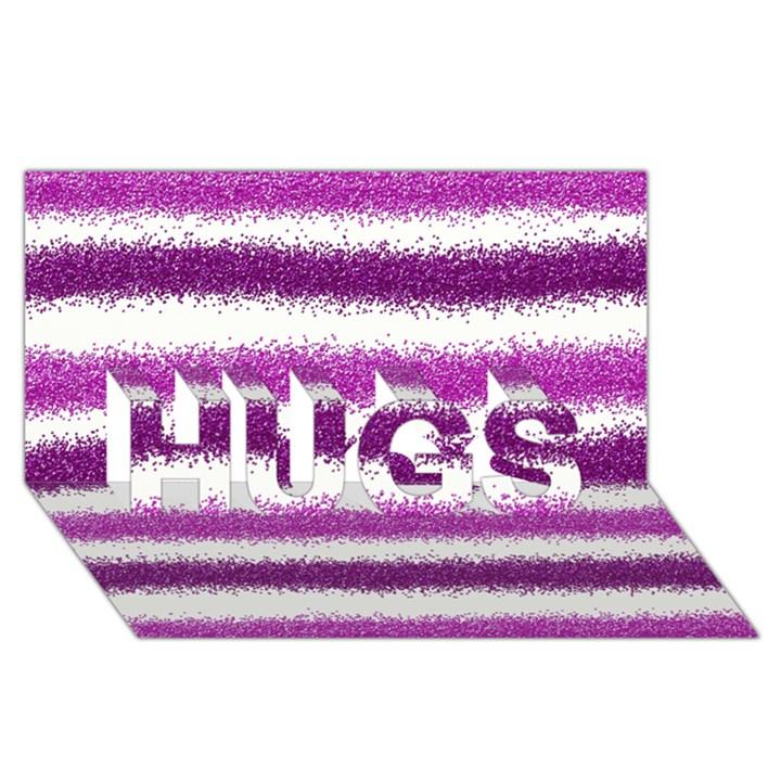 Metallic Pink Glitter Stripes HUGS 3D Greeting Card (8x4)