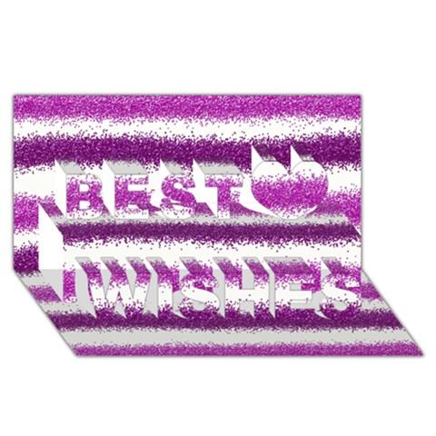 Metallic Pink Glitter Stripes Best Wish 3D Greeting Card (8x4)
