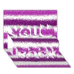 Metallic Pink Glitter Stripes You Rock 3D Greeting Card (7x5)
