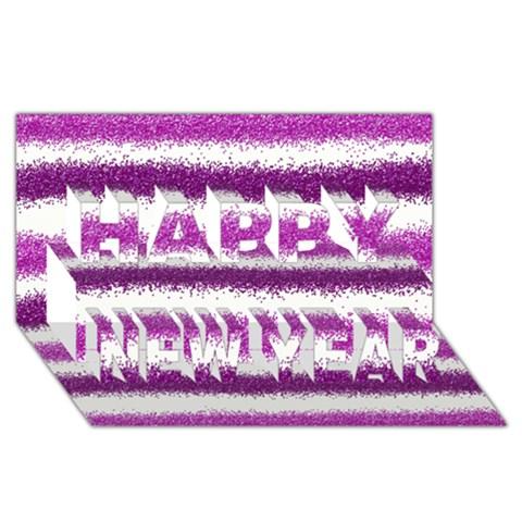 Metallic Pink Glitter Stripes Happy New Year 3D Greeting Card (8x4)