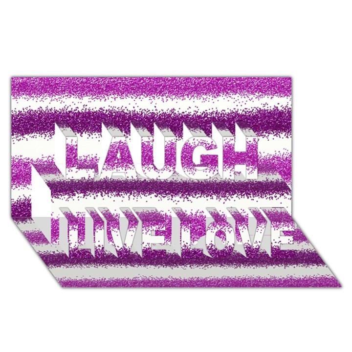 Metallic Pink Glitter Stripes Laugh Live Love 3D Greeting Card (8x4)