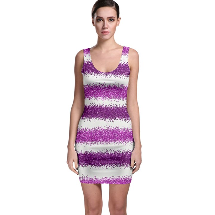 Metallic Pink Glitter Stripes Sleeveless Bodycon Dress