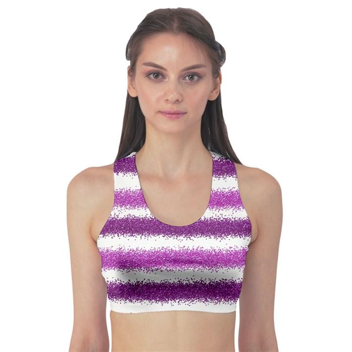 Metallic Pink Glitter Stripes Sports Bra