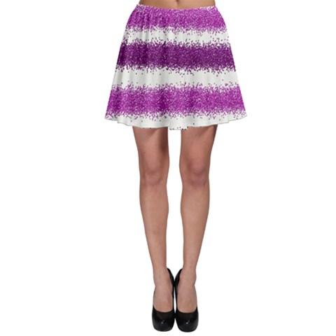Metallic Pink Glitter Stripes Skater Skirt