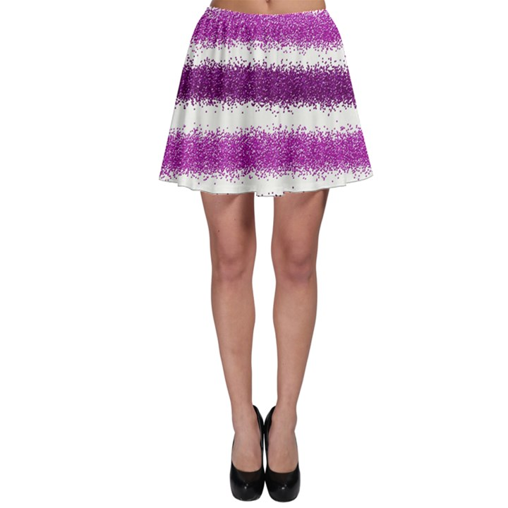 Metallic Pink Glitter Stripes Skater Skirt
