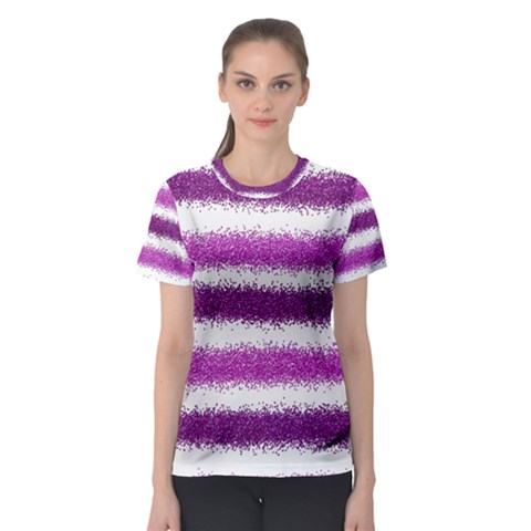 Metallic Pink Glitter Stripes Women s Sport Mesh Tee