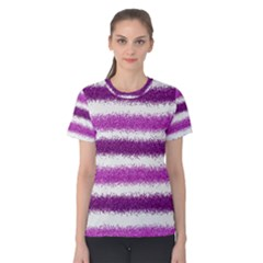 Metallic Pink Glitter Stripes Women s Cotton Tee