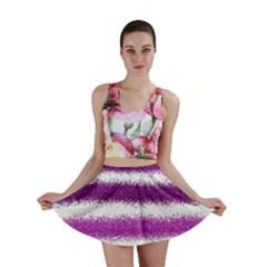 Metallic Pink Glitter Stripes Mini Skirt
