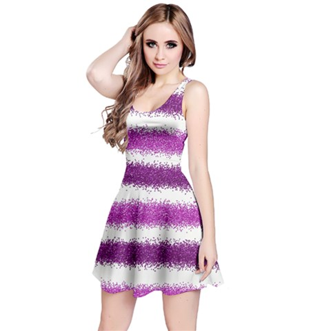 Metallic Pink Glitter Stripes Reversible Sleeveless Dress