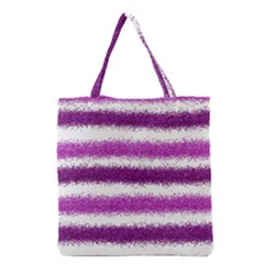 Metallic Pink Glitter Stripes Grocery Tote Bag
