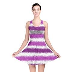 Metallic Pink Glitter Stripes Reversible Skater Dress