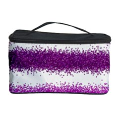 Metallic Pink Glitter Stripes Cosmetic Storage Case